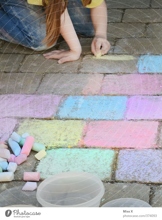 Human being Child Colour Girl Joy Playing Happy Art Leisure and hobbies Infancy Cute Painting (action, artwork) Toddler 8 - 13 years Draw Cobblestones
