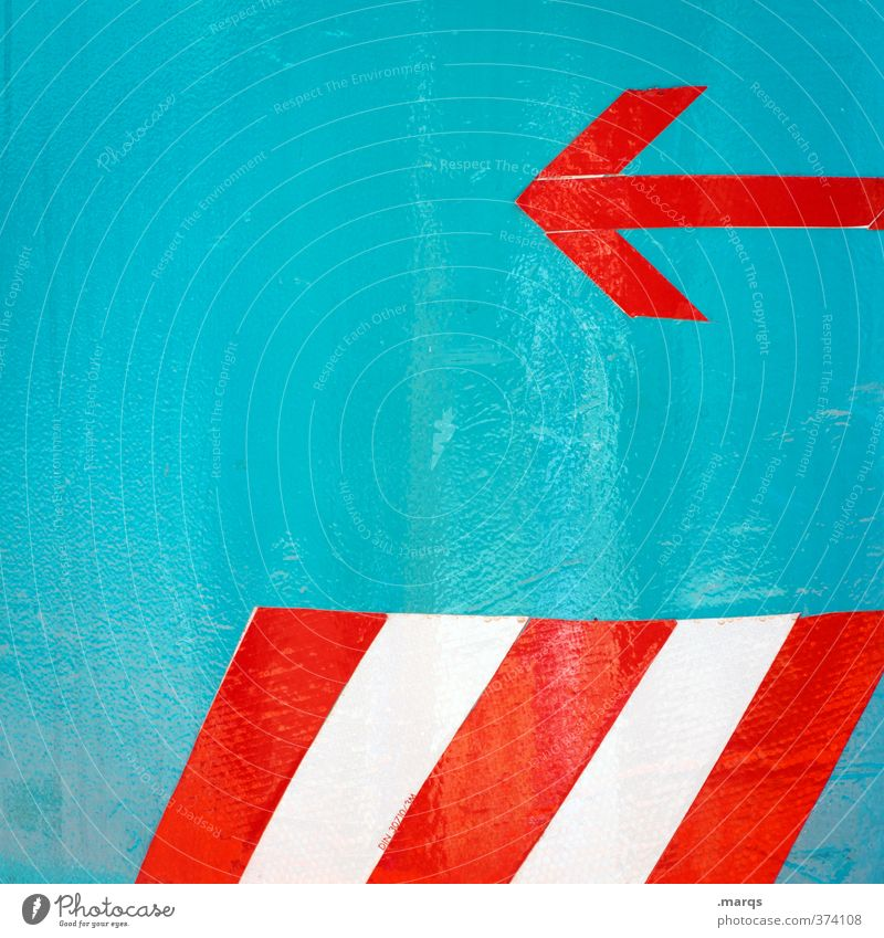 playback Style Design Sign Signs and labeling Line Arrow Stripe Exceptional Simple Red Turquoise White Beginning Left Backward Direction Change in direction