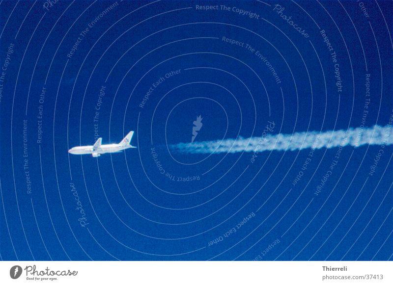 Beautiful Sky Blue Vacation & Travel Air Airplane Weather Aviation Logistics Vapor trail