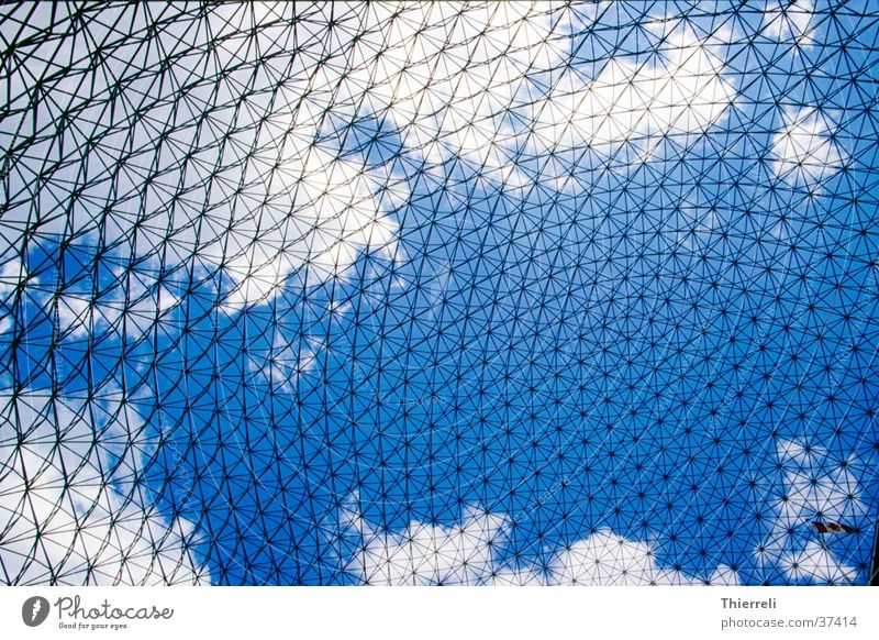 Sky Blue White Clouds Architecture Style Metal Network Manmade structures Upward Canada Grid Exhibition Interlaced Delicate