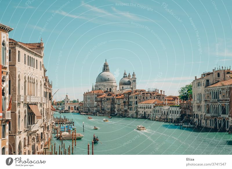 View over the Canal Grande in Venice Channel Water Italy Town Old town Tourism Port City Tourist Attraction built impressive Summer sunshine