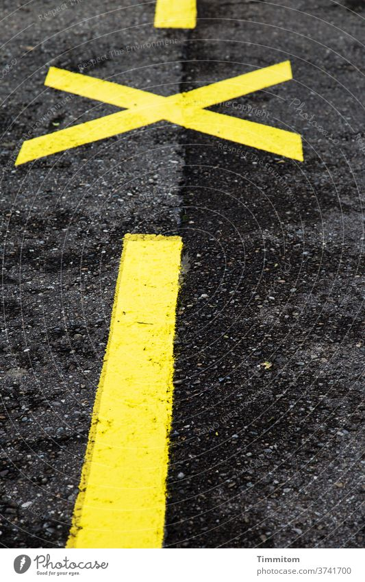 Marker: before... stop... before... Street Marker line mark Line Crucifix Asphalt Yellow Black Deserted Exterior shot Signs and labeling Traffic infrastructure