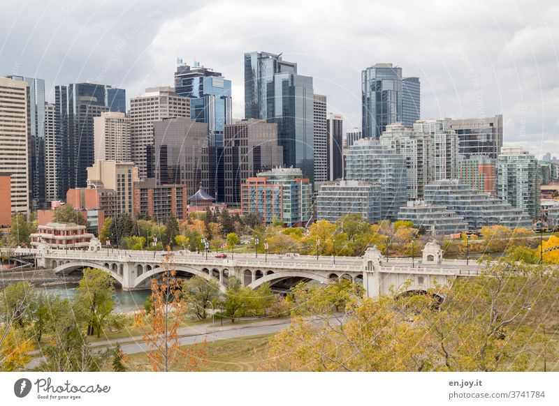 Architecture and nature |Skyline of Calgary in autumn with bridge over the Bow River Autumn high-rise skyscrapers Town City Sightseeing Canada Alberta built