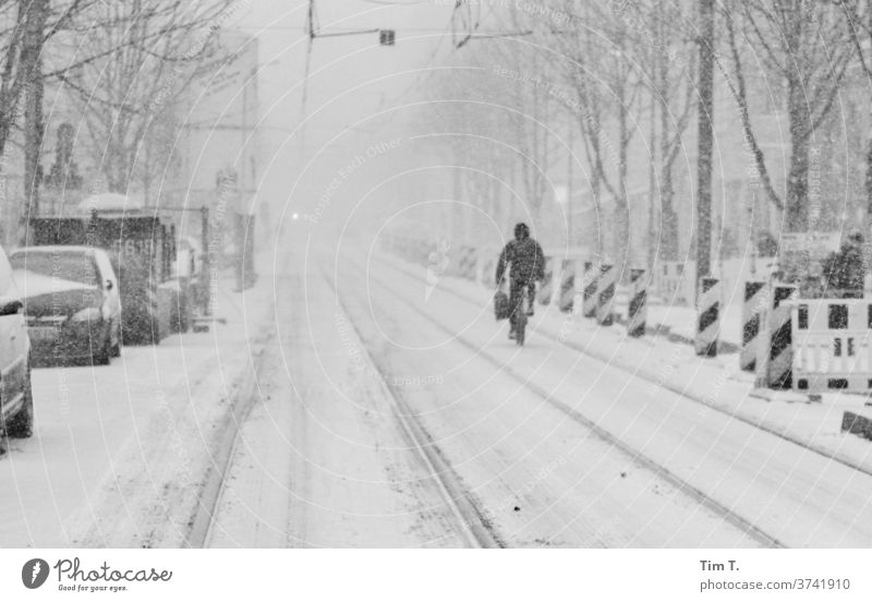they were winters Berlin Prenzlauer Berg Winter Snow Town Downtown Capital city Old town Exterior shot Day Black & white photo Street Transport Railroad tracks