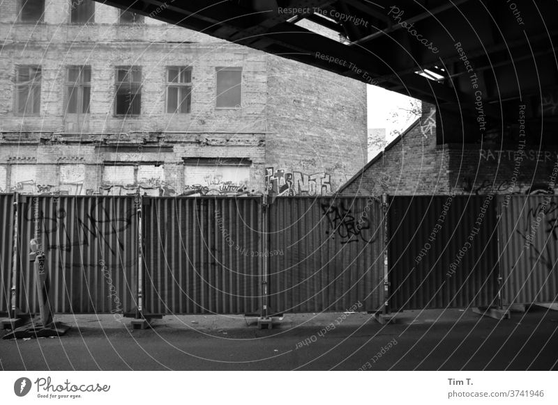 Berlin Lichtenberg Hoarding Black & white photo Town House (Residential Structure) Capital city Deserted Day Exterior shot Downtown Old town Window Old building