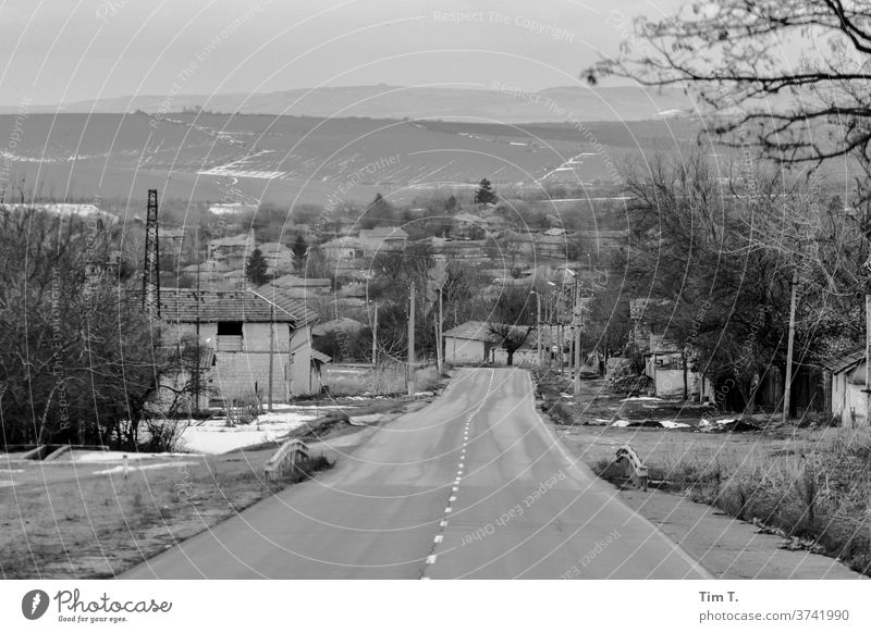 a road in Bulgaria b/w Black & white photo B&W B/W Calm Loneliness Village Street Landscape January Transport Avenue Trip Car journey