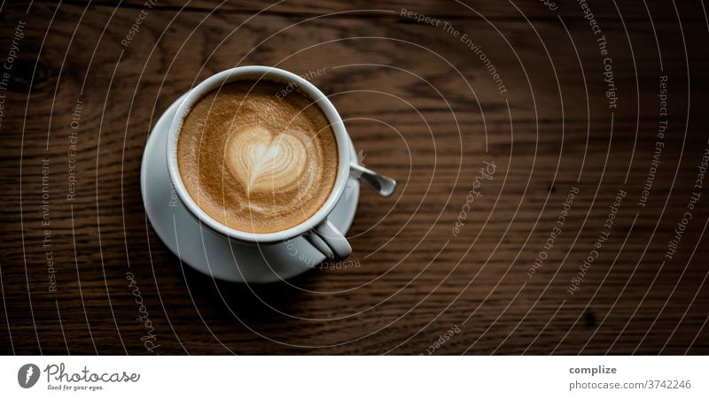 Cappuccino Love heart-shaped Foam up Twig Hot drink Beverage take to Mug creation Coffee Café Heart Pattern milk foam Wooden table wood to go take away