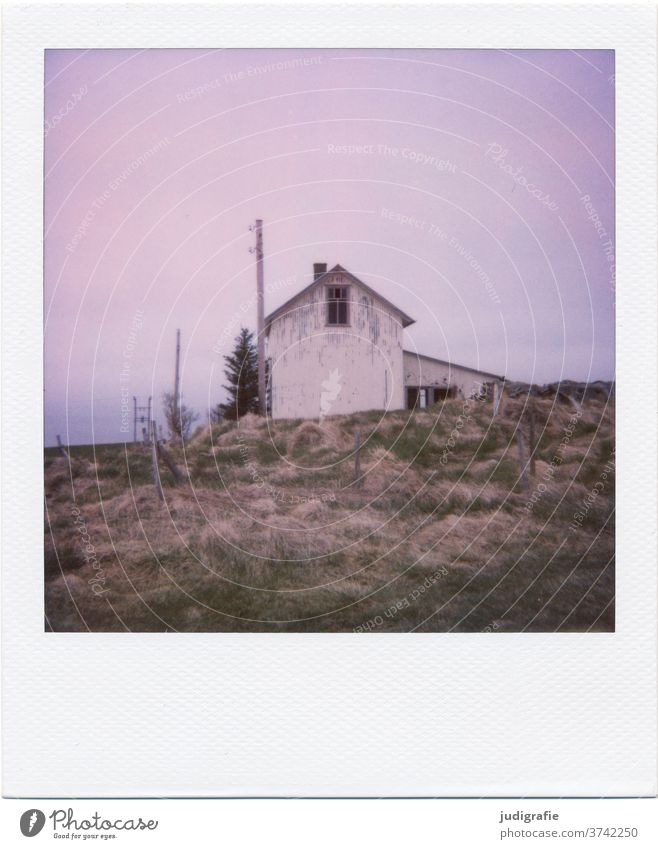 Polaroid of an Icelandic house House (Residential Structure) Landscape dwell Loneliness built Exterior shot Deserted Colour photo hut Meadow