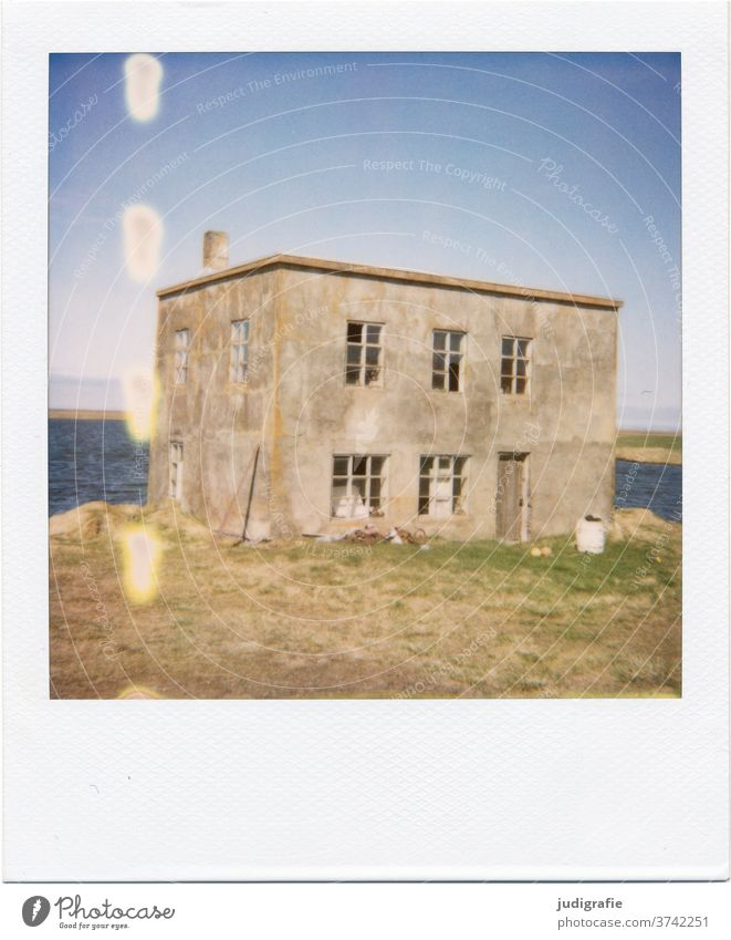 Polaroid of an Icelandic house House (Residential Structure) Landscape dwell Loneliness built Exterior shot Deserted Colour photo hut Meadow Fjord