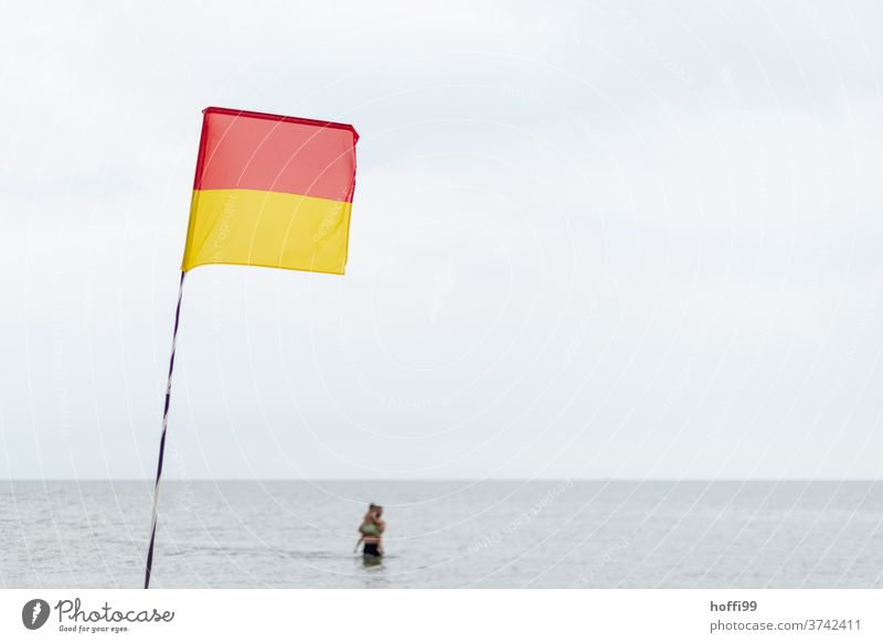 Father with child - watch out when swimming in the sea Bathing zone lido Beach Safety Summer Baltic Sea 1 - 3 years Joy Small Swimming & Bathing Infancy Playing