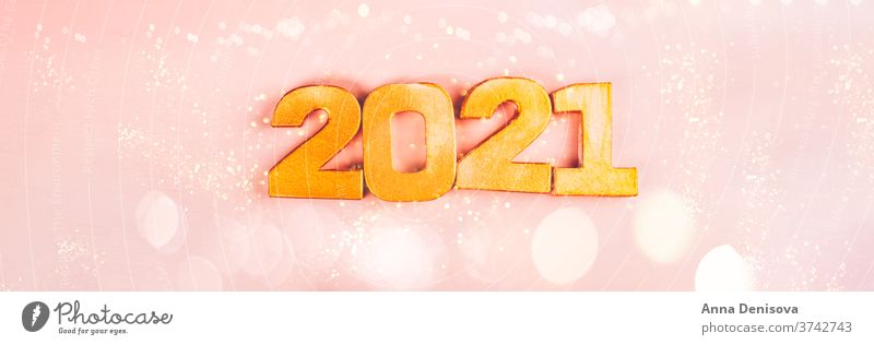 Happy New Year 2021 number digit new year silver eve date january feminine pink decoration christmas glitter shiny calendar festive gold holiday party golden