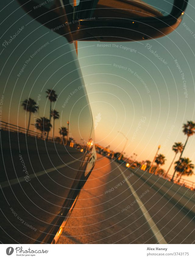 A car driving during sunset with palm trees in the background Car California Orange County reflection