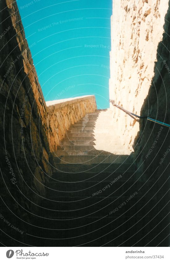 avila Spain Light Wall (barrier) Architecture Stairs City wall Sky Shadow Stone Sun