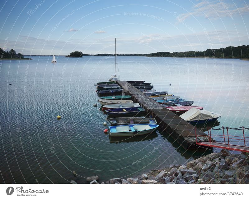 port Jetty Colour photo Exterior shot Deserted Idyll Calm Serene Beautiful weather Horizon Water Vacation & Travel Copy Space top Copy Space bottom Reflection