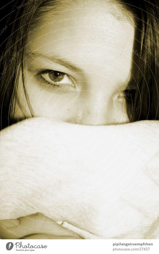 intense Girl Woman Black & white photo intense look Eyes Head