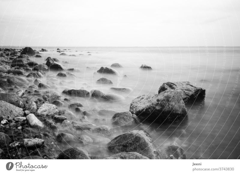 Stones in the sea Ocean Baltic Sea Baltic coast stones Water steep coast Beach Pebble beach Fog Sea of fog rock Rock Far-off places dream Dream Breads