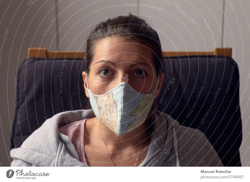 woman with face mask at home coronavirus facemask medical protection infection protective health prevention epidemic flu medicine disease quarantine illness