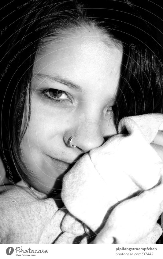 just a little smile Woman Cuddling Black & white photo light/dark Contrast Laughter