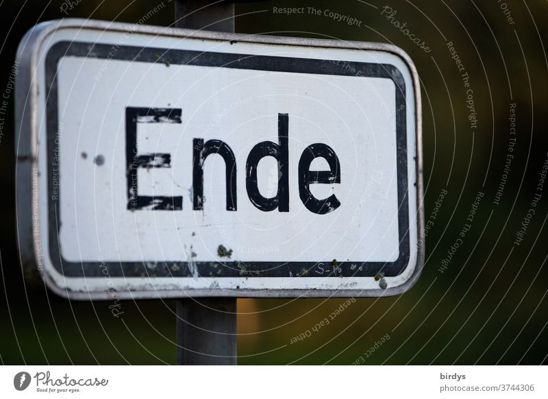 End - inscription on a sign Characters Signs and labeling Signage universally ending Termination through Authentic Shallow depth of field full-frame image