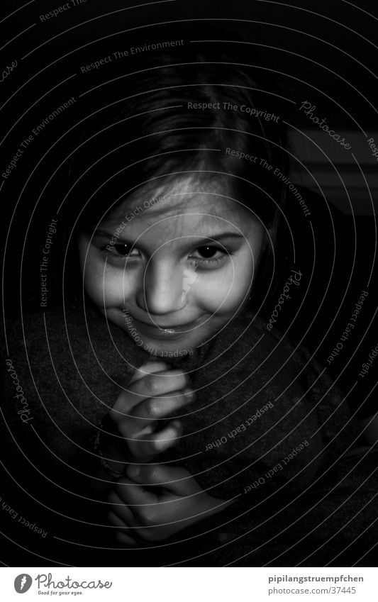 In the dark Girl Cute Beautiful Hand Dark Mysterious Woman little sister Face mischievous look