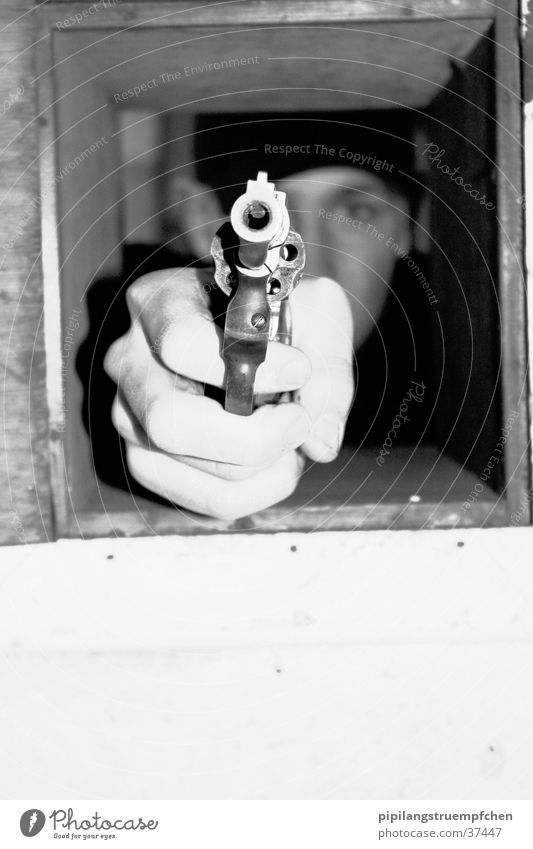 born to kill 2 Weapon Handgun Human being small window Black & white photo