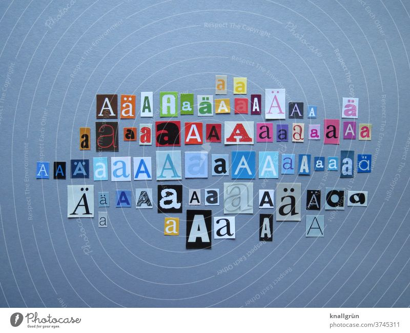 AA Letters (alphabet) Typography Characters Word Text Sign Anonymous Multicoloured Collage Low-cut Magazine Newspaper Print media Symbols and metaphors Paper