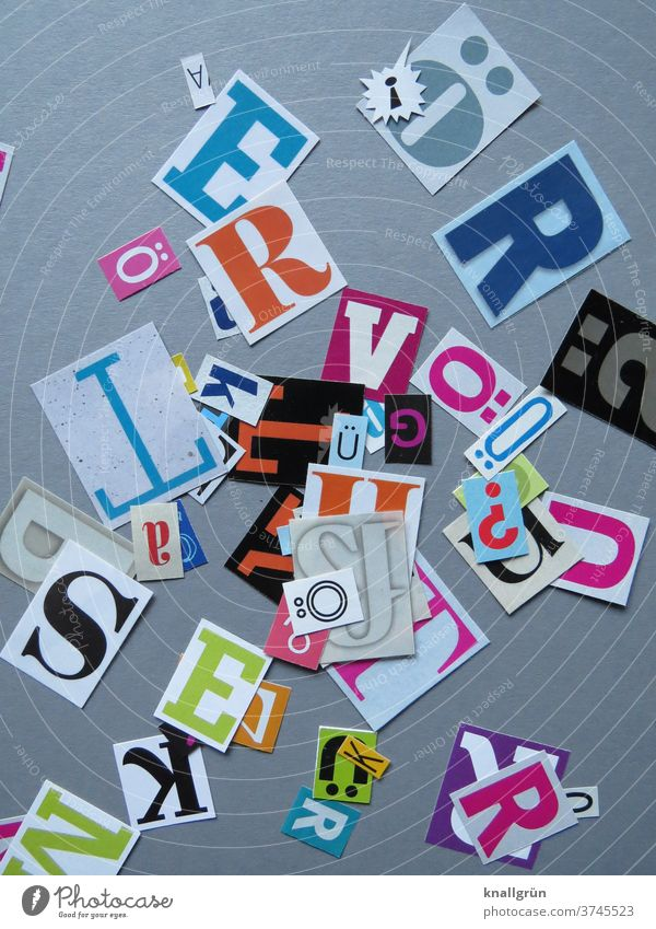 letters Letters (alphabet) Typography Characters Word Text Sign Low-cut Multicoloured Anonymous Collage Magazine Newspaper Print media Symbols and metaphors