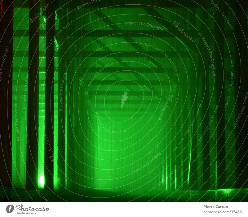 corridor Green Light Fog Dark Architecture Rain Surrealism