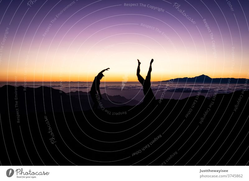 Silhoutte with beautiful sunset on the Teide Sunset Silhouette Sky Gran Canaria people Nature Mountain Landscape Orange Dusk Evening person Clouds hillock Blue