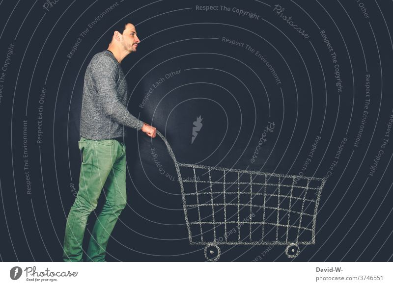 Man pushes shopping trolleys | dynamic Shopping Shopping Trolley Store premises Customer consumer Retail sector Consumption creatively