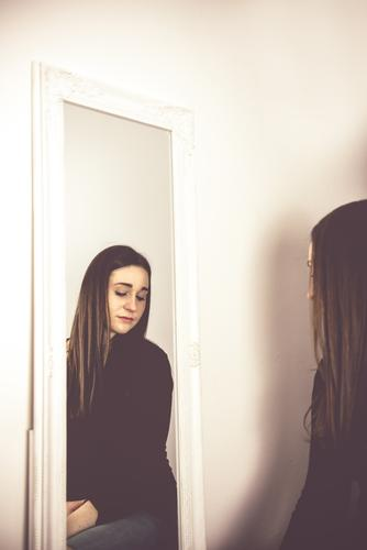 young woman in the mirror Mirror image girl sad Expressionless psyche embittered Emotions Soul pretty