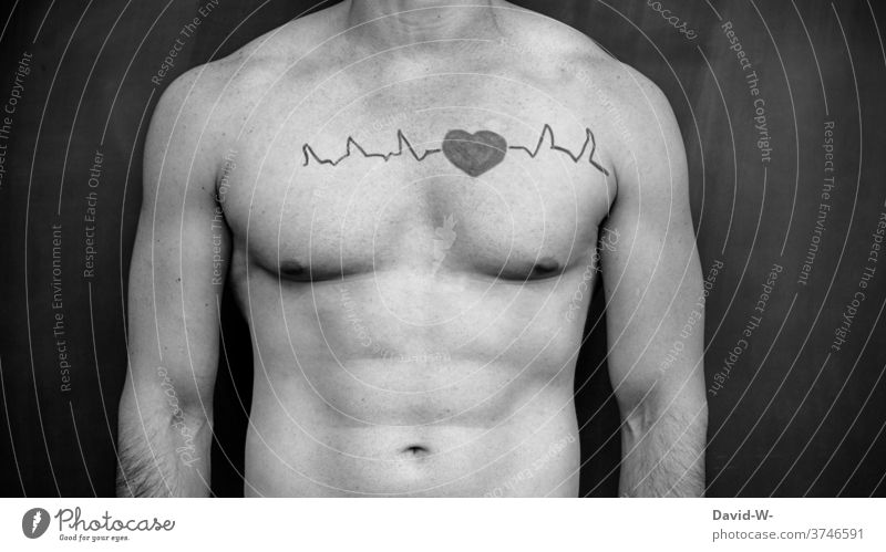 Heart beats in the body Heartbeat Healthy Life medicine Fitness vivacious Force strength muscle Man Body Athlete sexy