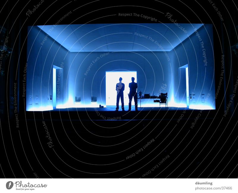 men at work Back-light Man Shadow light accents Room Perspective Blue