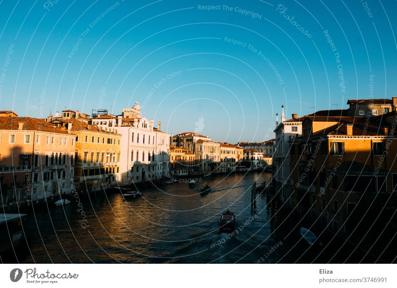 The Grand Canal in Venice in the morning light Canal Grande Channel morning sun Water Architecture Old town Town houses Sun Light and shadow Gondola (Boat)