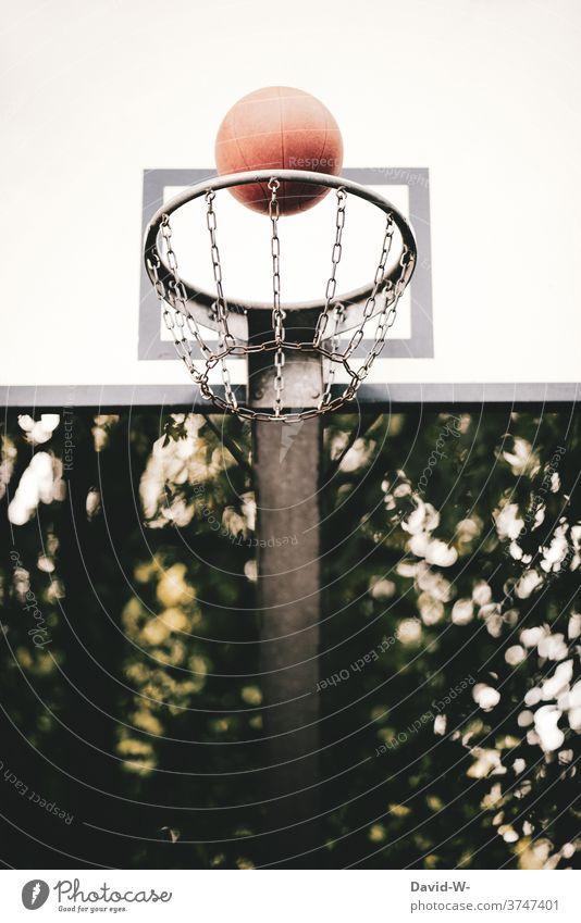Basketball hits the basket flies Basketball basket Strike points game Ball sports Sports Net Throw