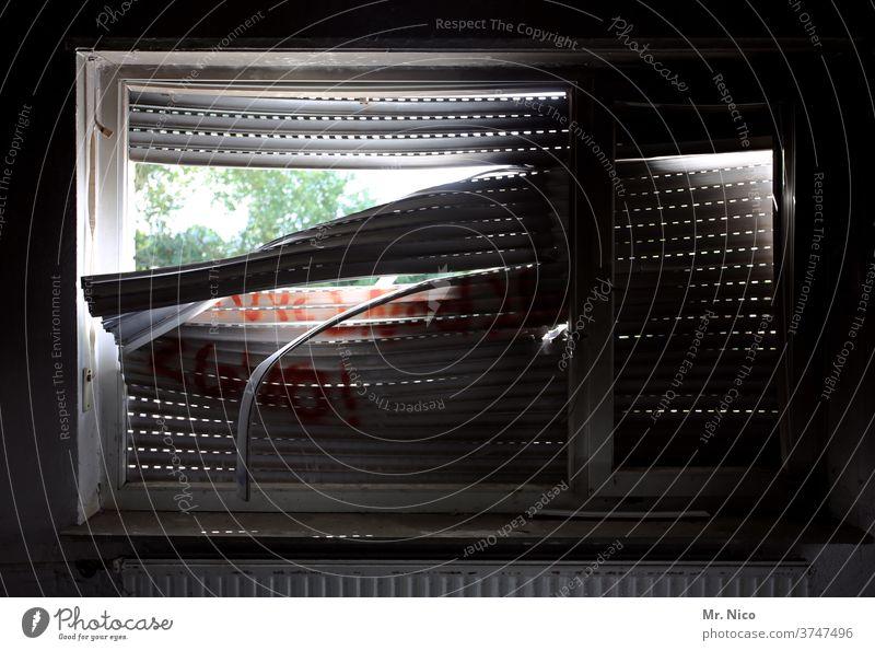 more dark as light Window roller shutter Dark Closed Gloomy Old Roller blind Broken broken Heater Shaft of light Venetian blinds lost places Living or residing