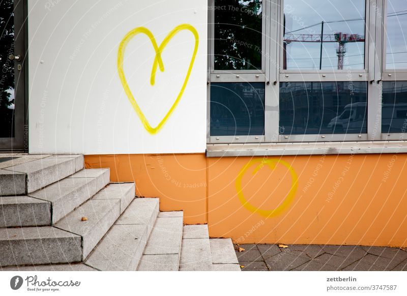 heart Heart Love Affection romance romantic relation spring feeling sensation emotion House (Residential Structure) Facade Wall (building) Stairs Steps Window