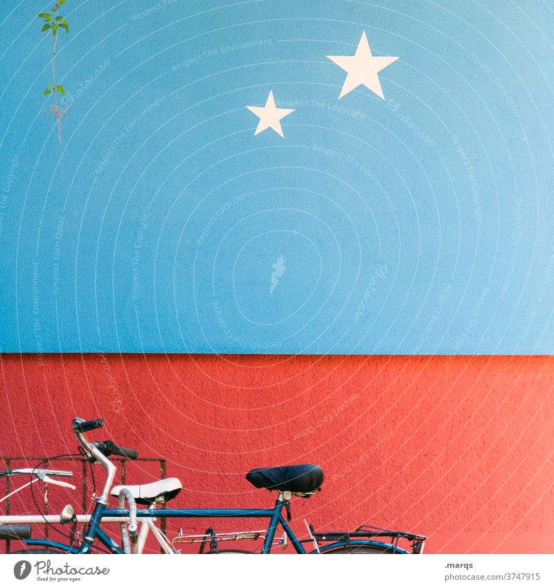 2-star bicycle parking Bicycle Parking Mobility Wall (building) Red Blue Star (Symbol) Means of transport