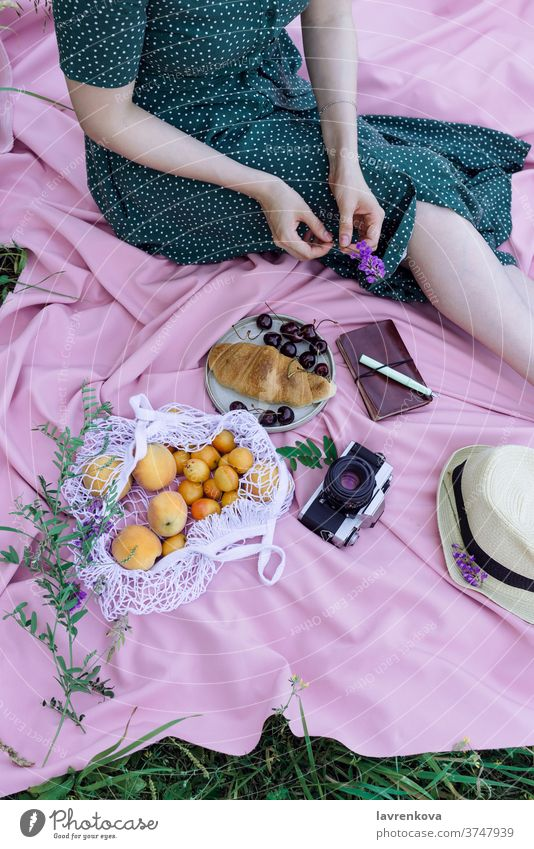Faceless portrait of female in green dress on a pink blanket on a grass, with fresh fruits, berries and pastry outdoors alone apricots camera cherry croissant