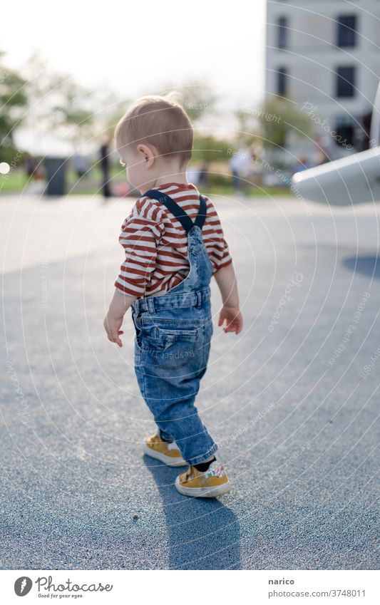 Toddler runs Child Boy (child) Colour photo Exterior shot Human being 1 - 3 years Infancy