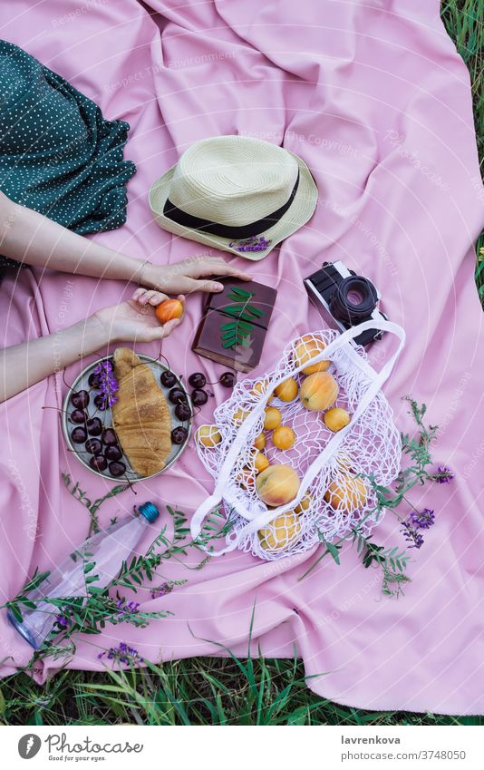 Female hands holding apricot fruit on a pink blanket on a grass, with fresh fruits, berries and pastry outdoors picnic woman faceless female camera film alone