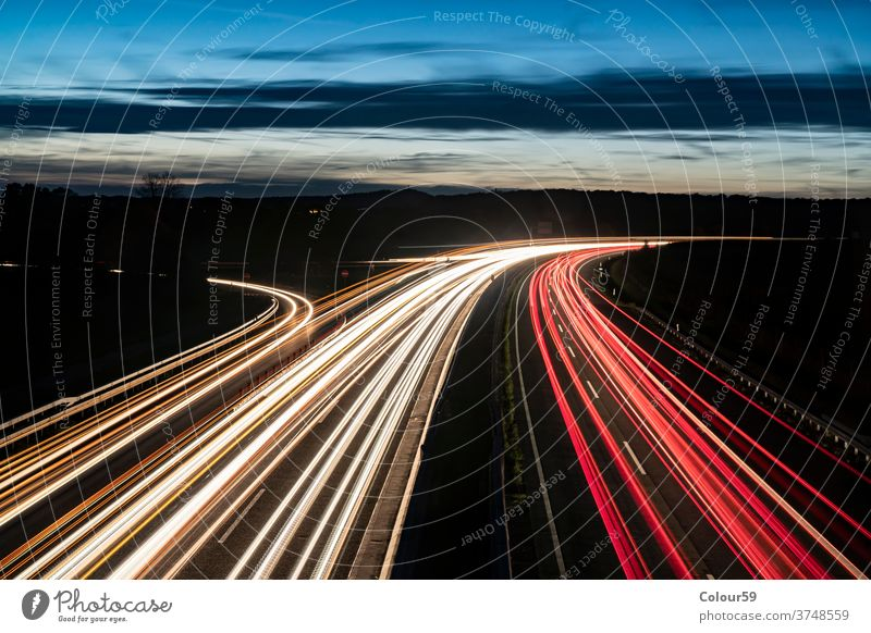 Autobahn at Night driving bright german long exposure europe outdoor lane speed highway traffic motion night light car road transport transportation autobahn