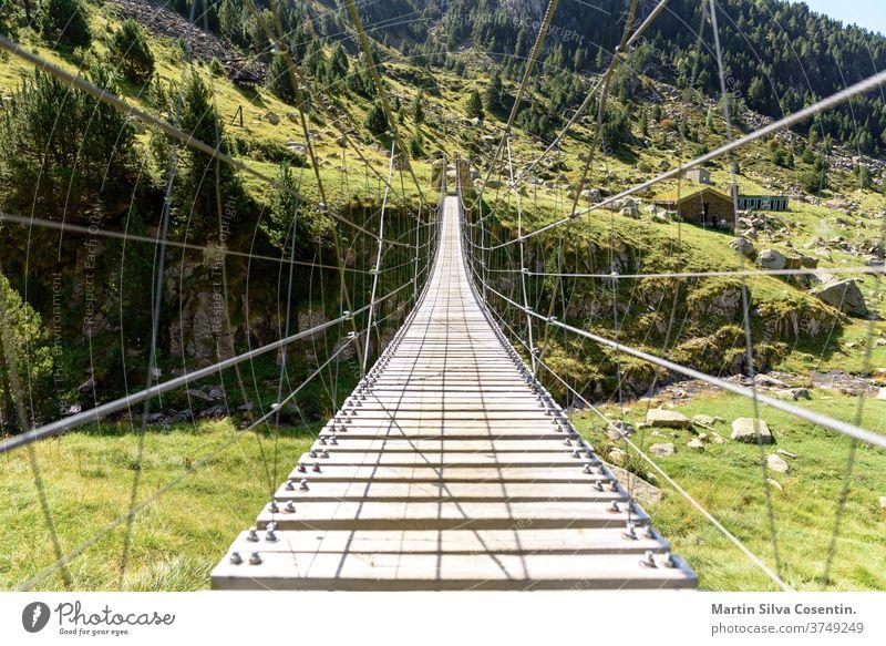 Els Cortals de Encamp, Andorra trees hanging footbridge way park adventure path wooden walk suspension andorra blue business cityscape day els cortals europe