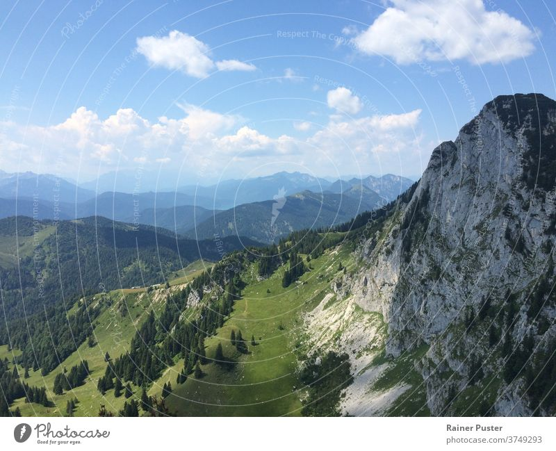 Looking over the European Alps near Munich, Germany alps blue european alps green hiking landscape mountain mountains outdoor rock scenery scenic summer