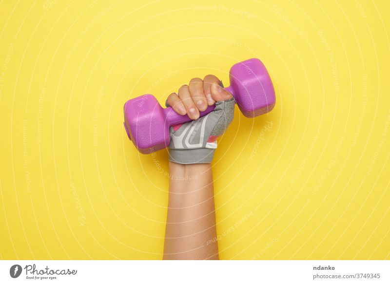 female hand in a pink sports glove holds a purple one kilogram dumbbell dumbell equipment exercise fit fitness gear gym health healthy heavy lifestyle lifting