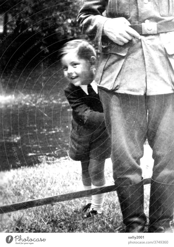 Childhood during World War II... Boy (child) Infancy Second World War Uniform Wehrmacht uniform cheerful Son Father Family & Relations Exterior shot 2