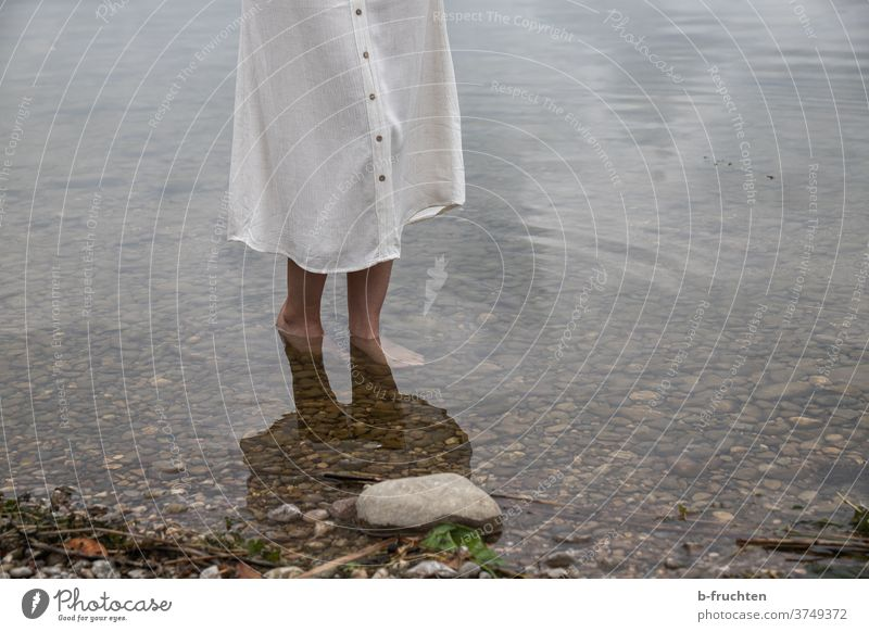 Barefoot in water Water chill Woman Skirt stones Lake Beach bank Going Stand Legs Nature Summer Relaxation Vacation & Travel on one's own