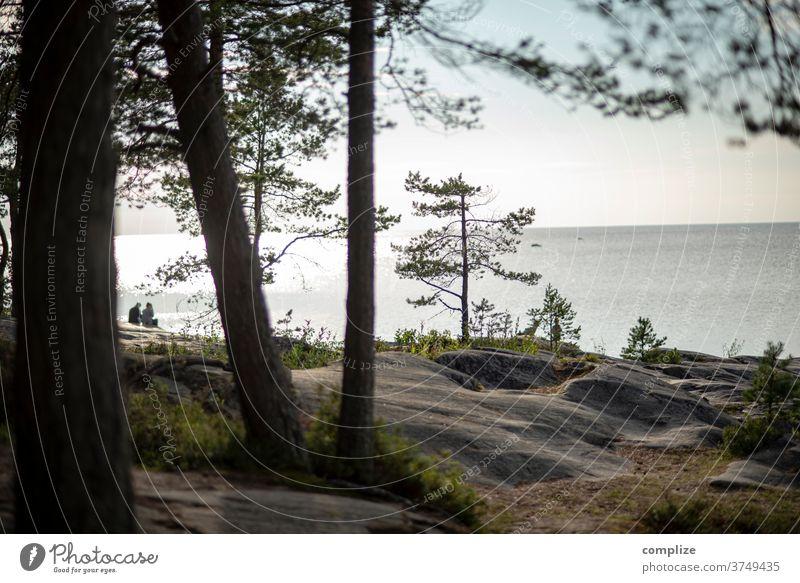 View to 2 Horizon Pietarsaari Baltic coast Baltic Sea Scandinavia Coast Beach rocky coast Rock Jawbone wide Ocean Finland Ostrobothnia couple Couple Together
