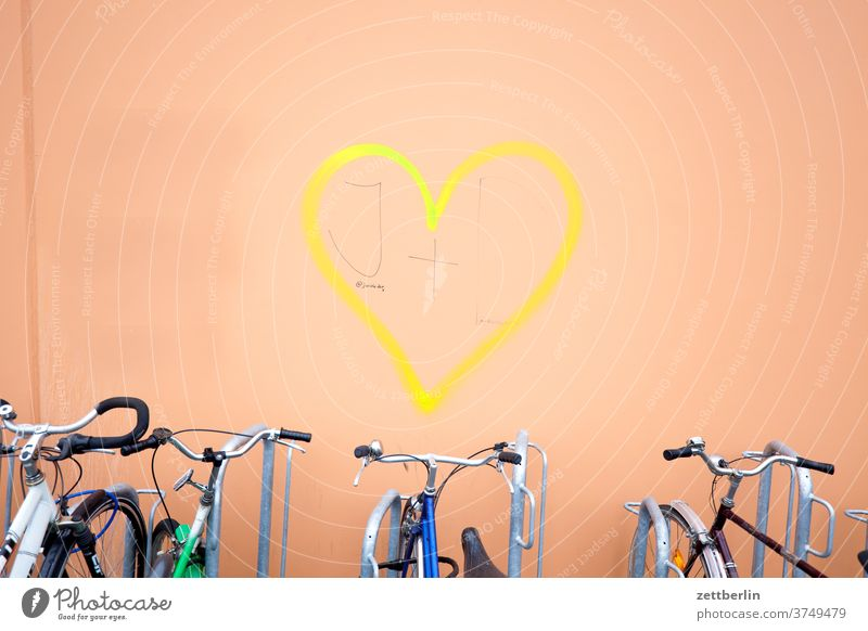 Heart with bicycles Love Affection relation romantic romance spring feeling sensation emotion House (Residential Structure) Wall (building) Facade tagg Graffiti