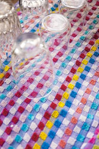 Glasses on towel Drinking Beverage Crockery drink cash Gastronomy Party Rag Towel süultuch Household Pattern diamonds Checkered small-minded Terry cloth